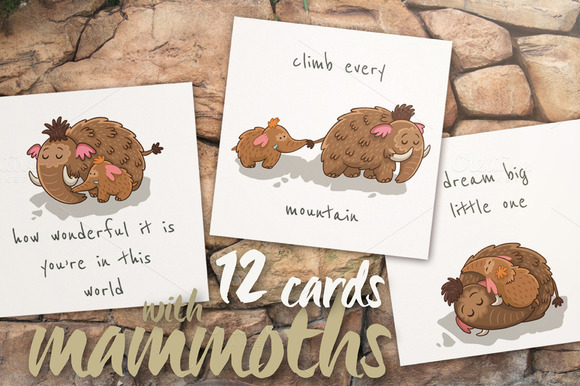 Hand Drawn Cards With Mammoths