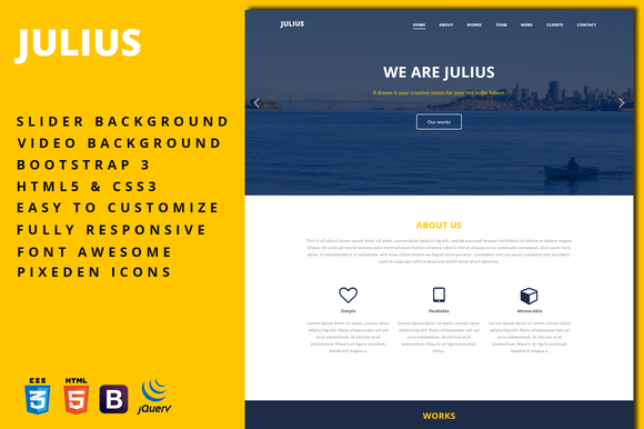 Julius One-Page Business Template