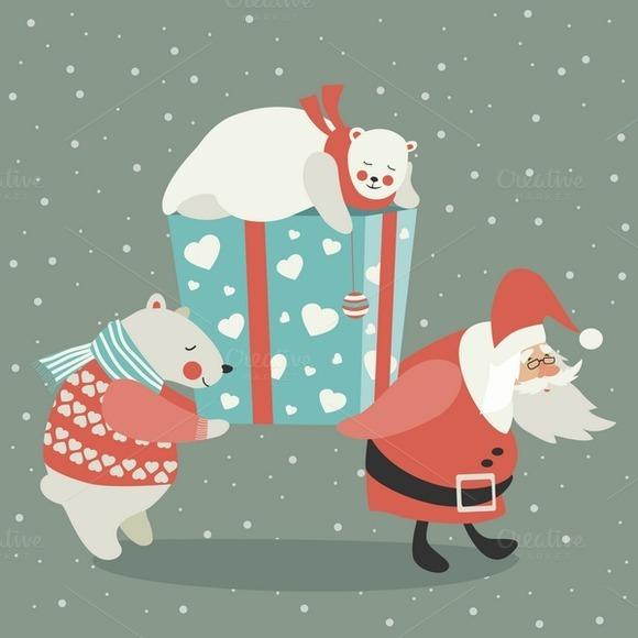 Santa And Polar Bear Carrying A Gift