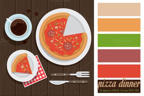 Pizza Dinner Vector Illustration