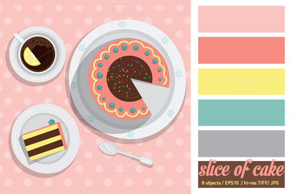 Slice Of Cake Vector Illustration