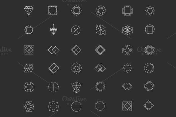 Geometric Patterns Set With 36 Icons