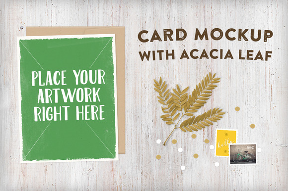 Card Mockup With Acacia Leaf