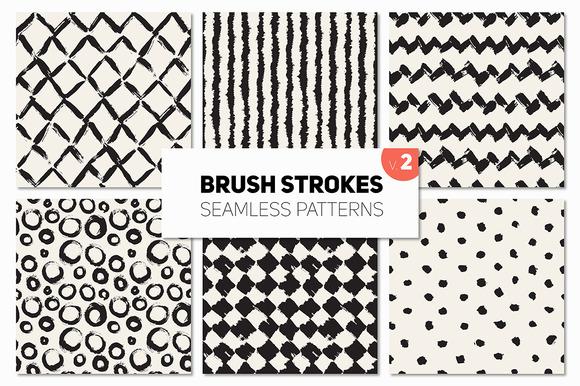 Brush Strokes Seamless Patterns V.2