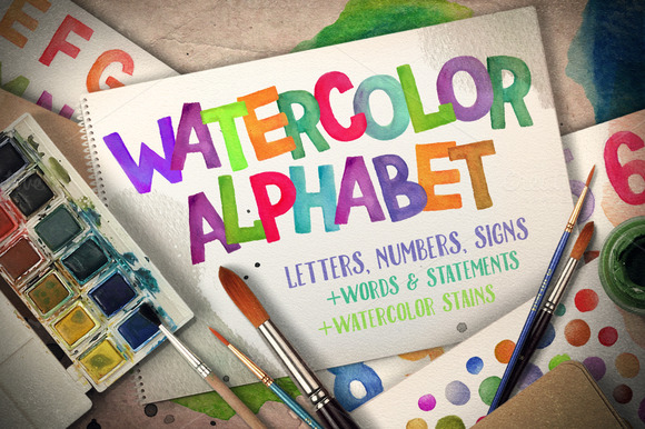 Watercolor Alphabet Paint Stains