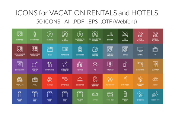 Vacation Rental Hotel Vector Icons