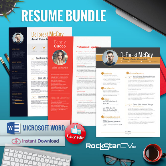 Resume With Picture Template Bundle