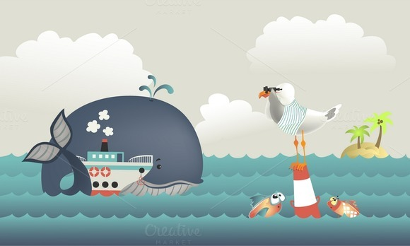 Whale Steamship And Seagull