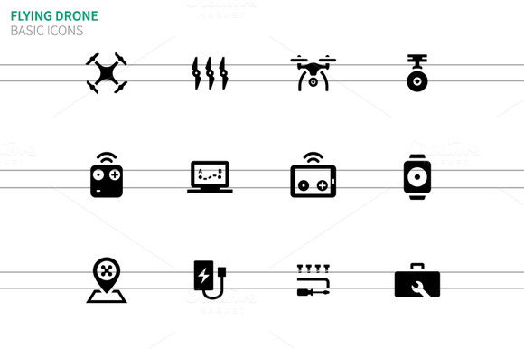 Flying Drone Icons On White