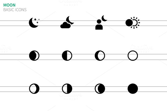Moon Phases Icons On White