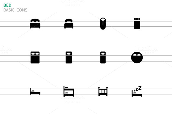Bed Icons On White Background