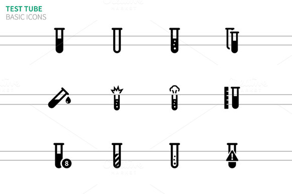 Test Tube Icons On White Background