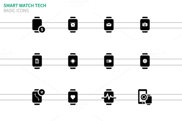 Smart Watch With Functions Icons