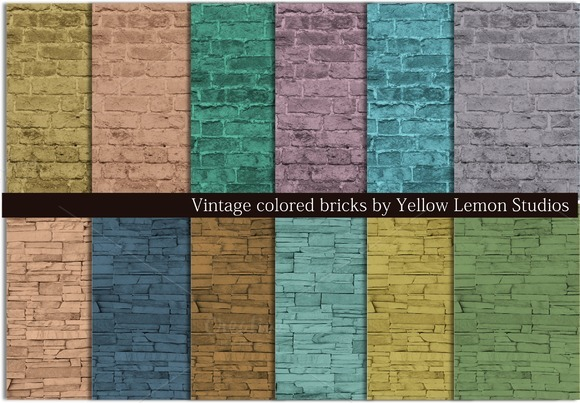 Vintage Colored Brick Rock Wall