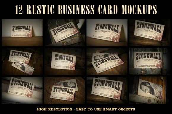 12 Rustic Business Card Mockups