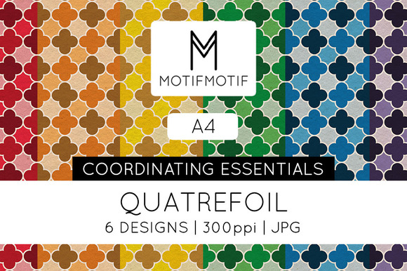 A4 Quatrefoil Digital Paper Pack