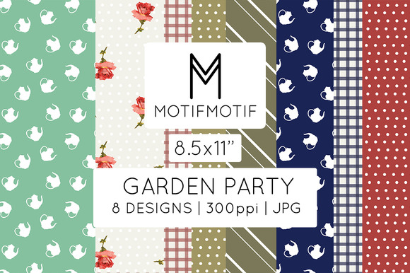 Garden Party Digital Papers 8.5x11