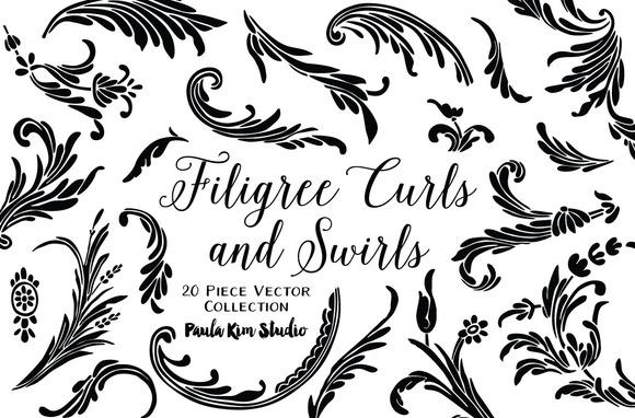 Filigree Curls And Swirls Vector Set