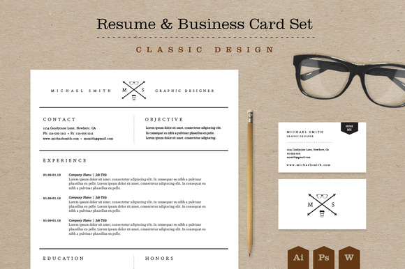 Classic Resume Business Card Set