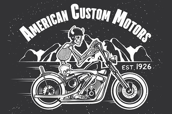 Skeleton Rider Motorcycle.Biker Logo