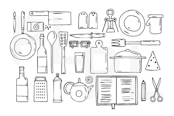Kitchen Utensils And Cookware.Icons