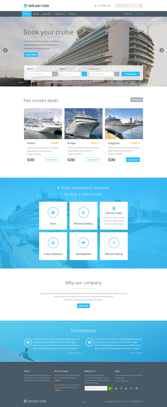 Book Your Cruise Booking PSD