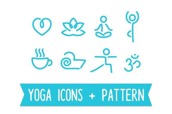 Yoga Line Icons And Seamless Pattern