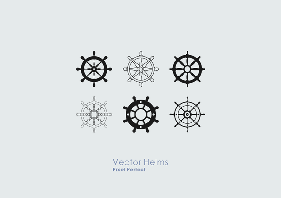 12 Nautical Ship Wheel Vectors