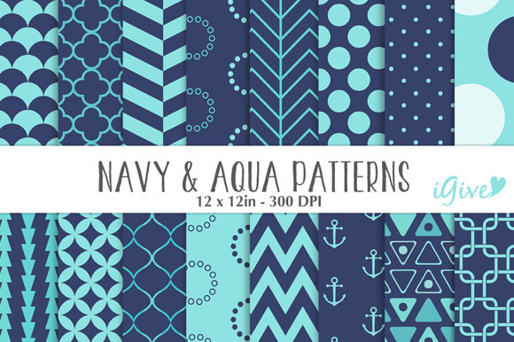 Navy And Aqu APatterns