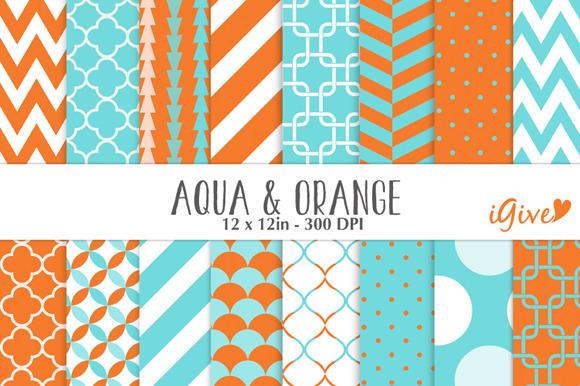 Aqua And Orange Patterns