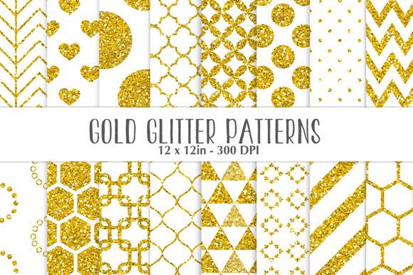 Gold Glitter On White Patterns