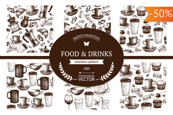 Food Drink Vector Pattern