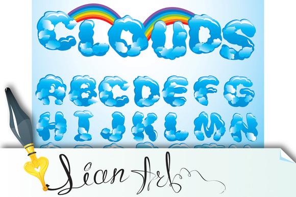 ABC English Alphabet Clouds Lette