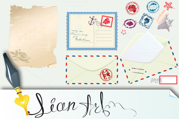 Postcard Envelope And Paper