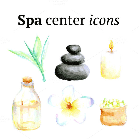 Watercolor Spa Icons