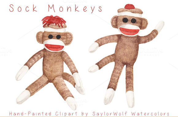 Sock Monkeys Watercolor Clip Art