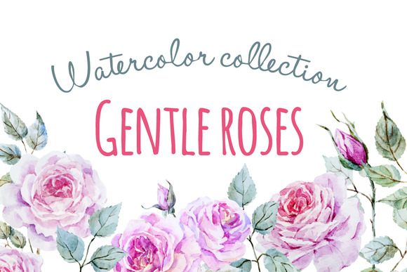 Watercolor Gentle Roses Set