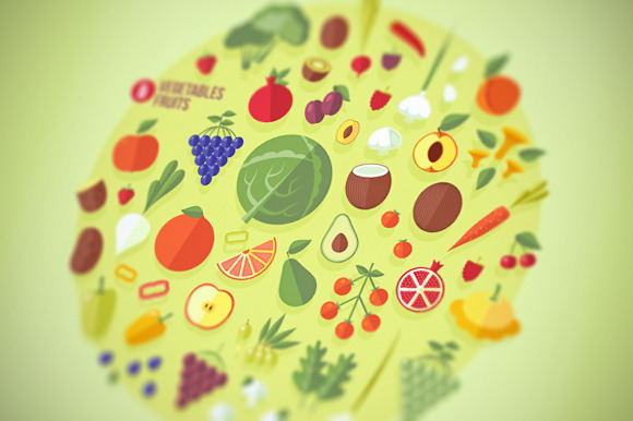 Fruits And Vegetables Icons Set