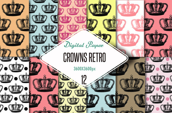 Digital Paper Retro Crowns