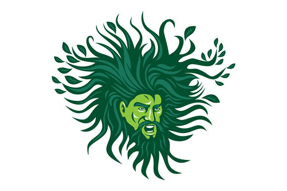 Green Man Head Hair Flowing Leaves C