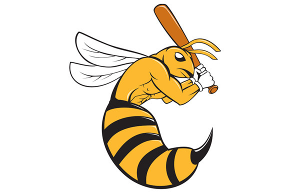Killer Bee Baseball Player Bat Carto