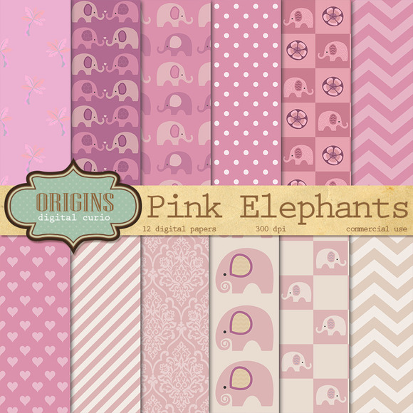 Pink Elephants Digital Paper