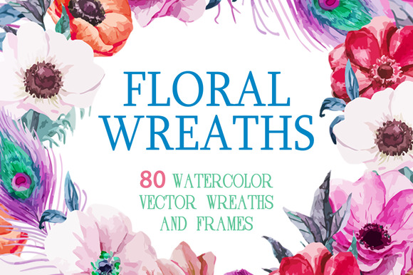 80 Watercolor Wreaths Mega Set
