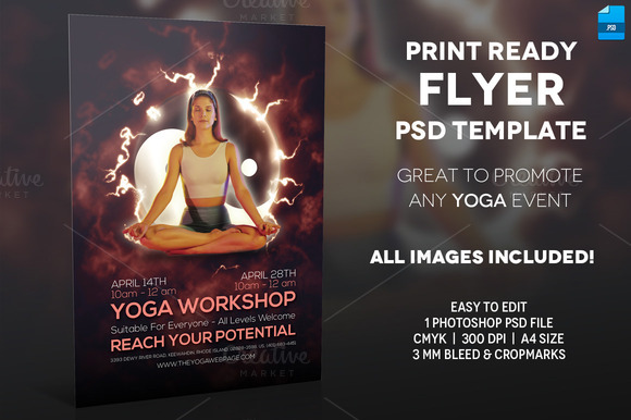 Yoga Event A4 Flyer Template