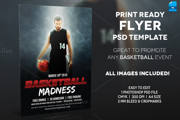 Basketball Event A4 Flyer Template