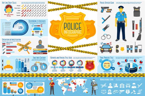 Police Infographics Set