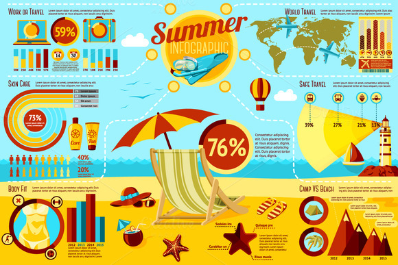 Summer And Travel Infographics Set