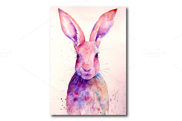 Watercolor Rabbit Art Print