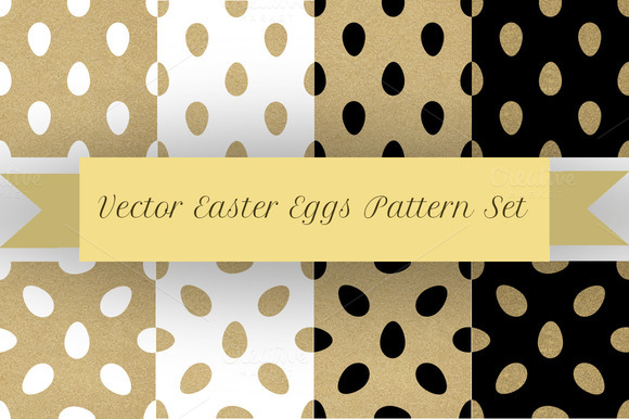 8 Vector Golden Easter Eggs Patterns