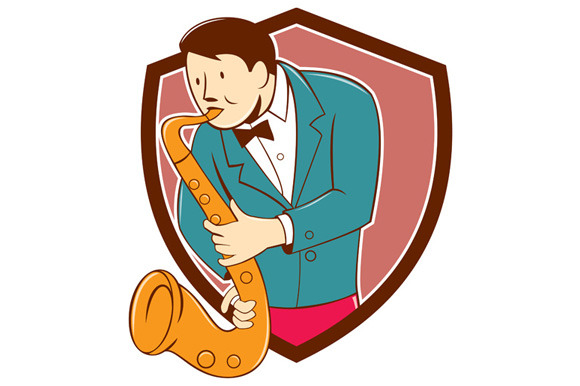Musician Playing Saxophone Shield Ca